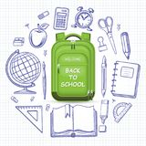 Schoolbag with the set of school supplies. Welcome back to school concept. Schoolbag with the set of doodle icons of school supplies. Vector illustration Royalty Free Stock Images