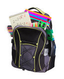 Schoolbag with supplies Stock Image
