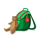 Schoolbag and teddy bear Stock Image