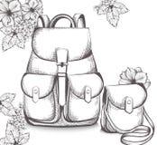 Schoolbag Vector line art. Back to school autumn backgrounds Stock Images