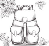Schoolbag Vector line art. Back to school autumn backgrounds Royalty Free Stock Photography