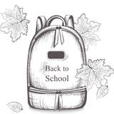 Schoolbag Vector line art. Back to school autumn backgrounds Royalty Free Stock Photos