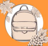Schoolbag Vector line art. Back to school autumn card backgrounds Royalty Free Stock Images