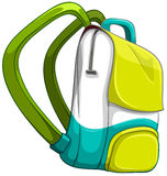 Schoolbag in yellow and green color Royalty Free Stock Images
