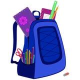 Schoolbag z notatnikiem, gumka, ołówki, władca Obraz Stock
