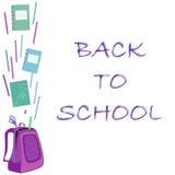 Schoolbag z notatnikiem, gumka, ołówki, władca Zdjęcia Royalty Free