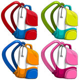 Schoolbags in different colors Royalty Free Stock Photo