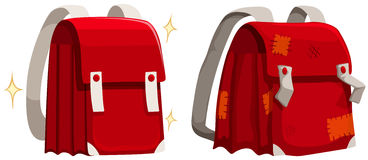Schoolbags new and old. Illustration Stock Image