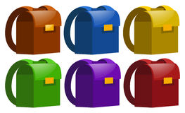 Schoolbags in six colors Royalty Free Stock Images