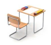 Schoolbank met het potlood en de gom Royalty-vrije Stock Afbeelding