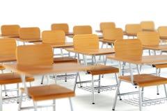 Schoolbanken in klaslokaal Stock Fotografie