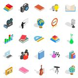 Schoolbook icons set, isometric style. Schoolbook icons set. Isometric set of 25 schoolbook vector icons for web isolated on white background Royalty Free Stock Image