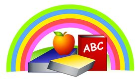Schoolbooks Apple do arco-íris Fotografia de Stock