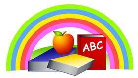 Schoolbooks van de regenboog Appel Stock Fotografie