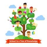Schoolboom van kennis en kinderenonderwijs Stock Foto's