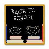Schoolbord met meisjesjongen Royalty-vrije Stock Foto's