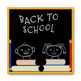 Schoolbord met meisjesjongen Royalty-vrije Stock Fotografie