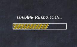 Schoolbordschets met van de vooruitgangsbar en inschrijving ladingsmiddelen stock afbeelding