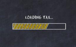 Schoolbordschets met vooruitgangsbar en de belasting van de inschrijvingslading stock fotografie