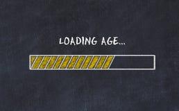 Schoolbordschets met vooruitgangsbar en de leeftijd van de inschrijvingslading royalty-vrije stock foto