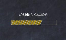 Schoolbordschets met vooruitgangsbar en het salaris van de inschrijvingslading stock foto