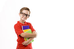 Schoolboy. In funny eyeglasses with books Stock Images