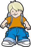 Schoolboy. Boy with school bag - vector illustration Stock Images