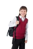 Schoolboy. The cheerful schoolboy with a satchel isolated on a white Stock Photo