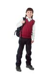 Schoolboy. The cheerful schoolboy with a satchel isolated on a white Stock Photography