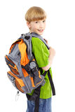 Schoolboy. Happy smiling schoolboy. Isolated over white background Stock Image