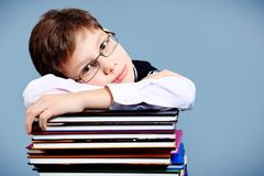 Schoolboy. Educational theme: portrait of a schoolboy with books. Studio shot over grey background Stock Photos