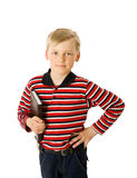 Schoolboy. Seven years schoolboy holding book isolated Royalty Free Stock Photography