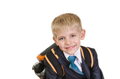 Schoolboy. Portrait of school boy with satchel on white Royalty Free Stock Image