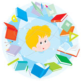 Schoolboy. Schoolkid in the circle of books and exercise books Royalty Free Stock Photo