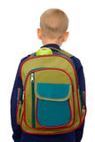 Schoolboy. The schoolboy c a backpack filled with a stationary Stock Photos