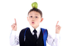 Schoolboy with apple. Schoolboy with backpack and apple Stock Image