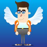 Schoolboy as an angel, with big white wings. stock illustration