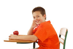 Schoolboy At His Desk Royalty Free Stock Photo