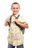 Schoolboy with backpack Royalty Free Stock Images
