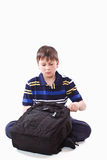 Schoolboy with backpack Stock Images