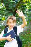 Schoolboy with backpack and books Stock Photography