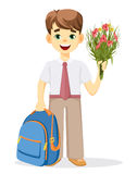Schoolboy with backpack and bouquet of flowers Stock Photos