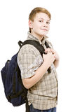 Schoolboy with backpack in a checkered shirt Stock Photo
