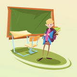 Schoolboy With Backpack In Classroom School Desk. Flat Vector Illustration Royalty Free Stock Photography