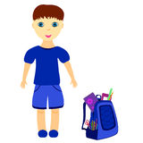 Schoolboy with backpack. Dressed in blue, vector illustration Stock Photo