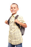 Schoolboy with backpack isolated on white Stock Image