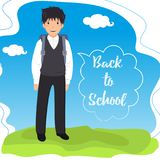 Schoolboy with backpack on a landscape background. Back to school in the speech bubble. Vector illustration vector illustration