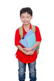 Schoolboy with backpack over white Stock Photography