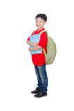 Schoolboy with backpack over white Stock Images