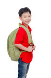 Schoolboy with backpack over white Stock Photos